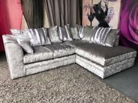 BRAND NEW COUCHES ON SALE CRUSH VELVET CORNER SOFA AVAILABLE IN BEAUTIFUL COLOURS
