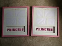 Pair of wall hanging pink 3D princess picture frames used