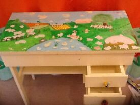 Hand painted childrens wooden desk