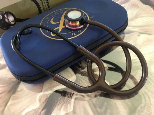 Brown tubing/rainbow metal Double head Stethoscope with Case ( Littmann logo)