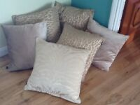 8 Large Gold patterned Designer Cushions, excellent condition