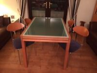 DINING TABLE, MATCHING CHAIRS + DISPLAY UNIT