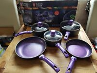 Russell Hobbs 8 Piece Induction Non Stick Stone Pan Set Saucepan Frying Pan Kitchen Cookware