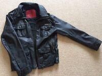 Men's Superdry Black Leather jacket. Size Large