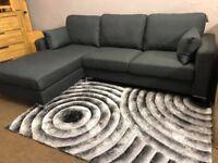 New/Ex-display Stunning grey fabric corner sofa