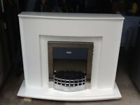 White wood fire surround plus electric fire