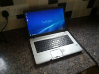 "SONY VAIO VGB-NW 15.6"" LAPTOP, DUAL CORE 2.10GHz, 4GB, 120GB, WIFI, DVDRW, BLUETOOTH, OFFICE, WEBCAM"