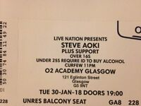 steve aoki ticket Glasgow O2 academy Tues 30th January 7pm over 16s