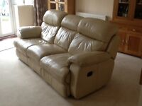 Three seater reclining real leather sofa cream by furniture village