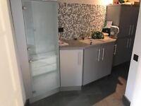 Kitchen units, fridge and sink