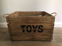 Toy Crate - Wooden Toy Crate - Apple Crate - Jute Rope Handles