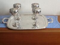 Lovely silver plated tray and four goblets.