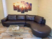 Rozel Italian Brown Leather Corner Sofa