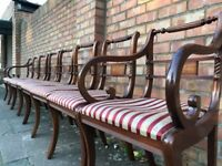 Antique Regency style chair x 8 and dining table extendable