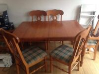 Pine wood kitchen table and Six Chairs Dinning room seats family