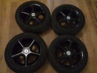 5x100 15 inch TSW alloys Black - New Tyres - Newly Refurbed