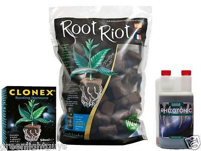 Root Riot Refill Bag 100 Cubes, Clonex 50ml, Canna Rhizotonic 250ML