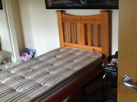 Double ended solid Single pine bed with mattress