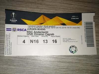 Rare Ticket : RSC Anderlecht - Dinamo Zagreb 04-10-2018 Europa League