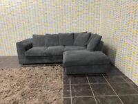Jumbo grey cord corner sofa