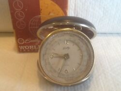 Vintage BRADLEY World Time Travel Alarm Clock Clam Shell 8989 Box Instructions