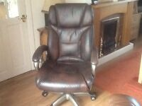 Chair brown leather office or home swivel chair with arms very comfortable