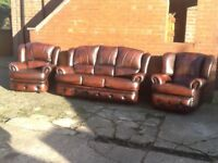 QUALITY LEATHER SUITE MADE BY SAXON LEATHER 3 PIECE SET WITH RECLINER CHAIR ANTIQUE BROWN LEATHER