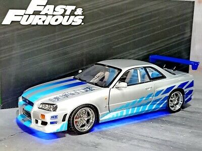 1:18 R34 Greenlight Fast & Furious Wild Speed Brian's R34 Gtr 1/18 With Lights