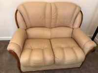 Cream/Yellow leather 3 and 2 seater sofas excellent condition, like new
