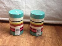 2 brand new John Lewis striped outdoor candles