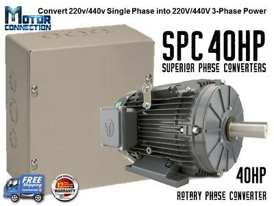Rotary Phase Converter - 40 Hp - Create 3 Phase Power From Single Phase Supply