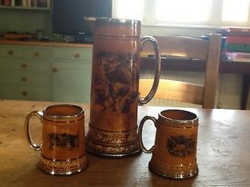 Vintage Ridgeway pottery 2 Tankards, 1 Pitcher depicting scenes from Coaching Days and Coaching Ways