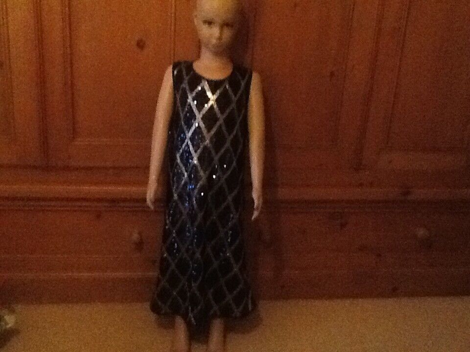 Girls Sequinned M&S Navy/Silver Party Dress Age 11-12 & ASDA Cardigan Great For St Andrews Day/ Xmas
