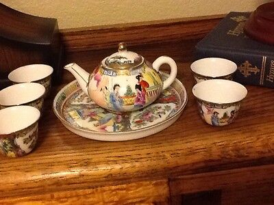 Vintage Chinese Rose Famille Tea Pot And 6 Cups Hand Painted