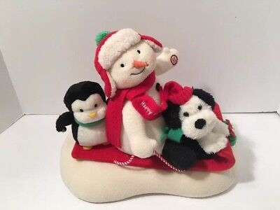 Jingle Pals Hallmark Sleigh Ride Animated Sled Snowman Penguin 2007 Video -