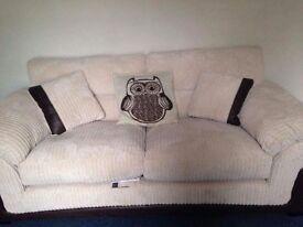 Cream fabric sofa set -like new condition