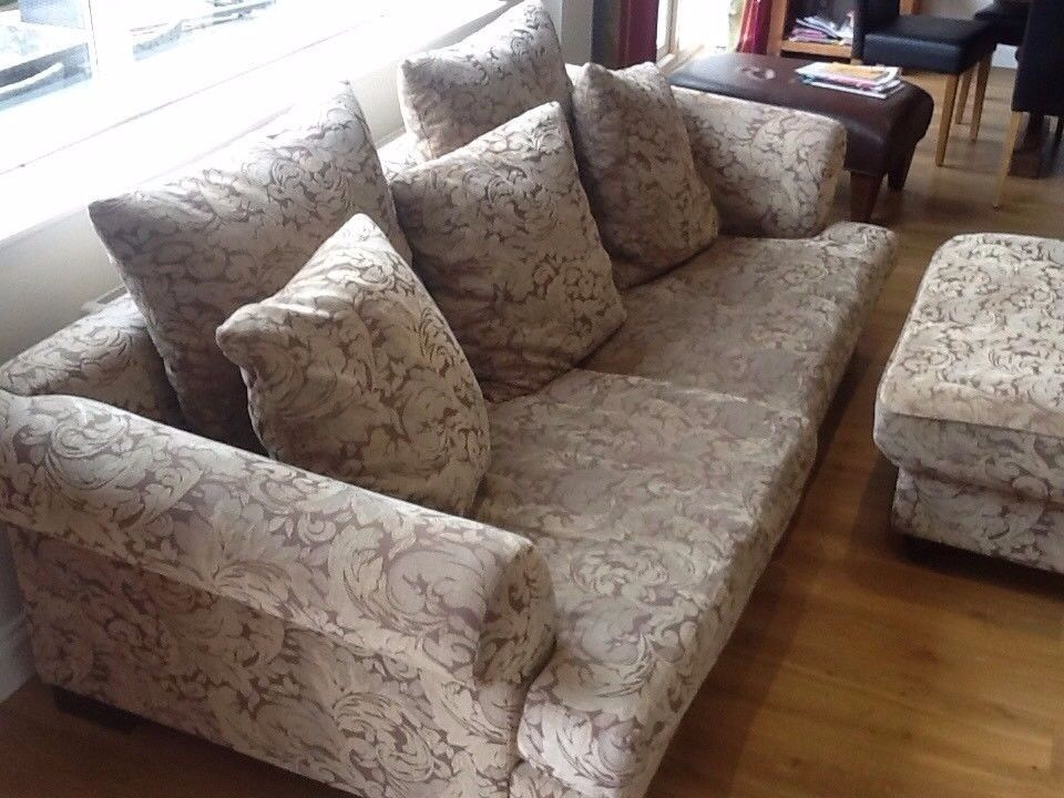 VINTAGE / RETRO SOFA , AND FOOT STOOL IN VERY GOOD USED CONDITION FREE LOCAL SAME DAY DELIVERY