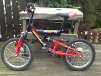 "Raleigh Invader Bike, 16"" wheel kids bike, 5-8 years, black & red, front & rear suspension"