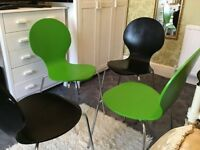 4 wooden green and black dining table chairs