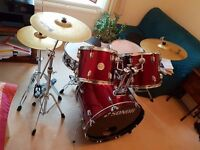 5 peice Sonor drum kit - wine red 505 force