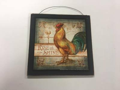 rooster Rise and Shine country kitchen wooden wood wall art sign farm decor