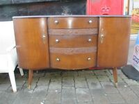 Vintage retro bow fronted deco styled sideboard.