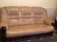 Leather 3 seater settee and 1 chair