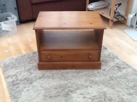 Small solid pine T.V. HiFi unit with drawer