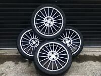"**BARGAIN** Set Of 4 18"" Gunmetal Grey Fox Racing Alloy Wheels 4 STUD 4X100 FITMENT RENAULT"