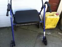 MOBILITY WALKER EXTRA WIDE SEAT 4 WHEELED WITH BRAKES