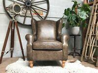 Next Leather Sherlock Wingback Armchair Studs