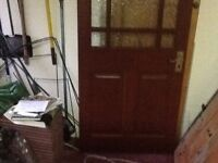 Semi glazed door with handle and mortice lock (but I don't think I have a key!)