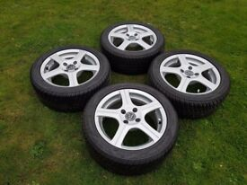 "Wolfrace Excite R4's - 15"" Alloy Wheels & Uniroyal Tyres, PCD 4x100, ET38"