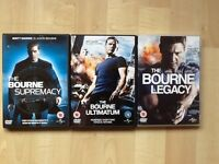 Bourne trilogy of DVDs excellent condition, certificate 12